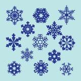 Inzameling van vectorsneeuwvlokken, blauwe sneeuwvlokken, blauwe sneeuwvlok Royalty-vrije Stock Foto's