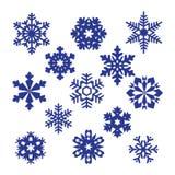 Inzameling van vectorsneeuwvlokken, blauwe sneeuwvlokken, blauwe sneeuwvlok Royalty-vrije Stock Foto