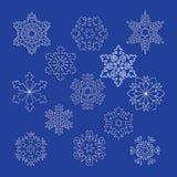 Inzameling van vectorsneeuwvlokken, blauwe sneeuwvlokken, blauwe sneeuwvlok Royalty-vrije Stock Afbeelding