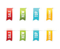 Inzameling van vectorverkoopetiketten, stickers, markeringen op witte achtergrond Stock Foto's