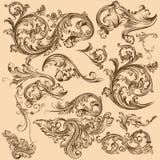 Inzameling van vectorwervelingselementen in uitstekende stijl Royalty-vrije Stock Foto's