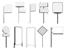 Inzameling van veel aanplakbord en teken van de reclamebanner stock illustratie