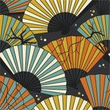 Inzameling van ventilators naadloos patroon vector illustratie