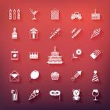 Inzameling van verjaardag, jubileum, vakantie, het vieren partijpictogrammen Witte die silhouetten met schaduwen op gekleurde ach Stock Foto's