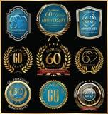 Inzameling van verjaardags de gouden en blauwe etiketten, 60 jaar Royalty-vrije Stock Foto