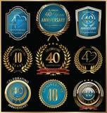Inzameling van verjaardags de gouden en blauwe etiketten, 40 jaar Royalty-vrije Stock Afbeelding