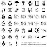 Inzameling van 45 Verpakkende Symbolen royalty-vrije illustratie