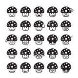 Inzameling van verschil emoticon pictogram van de zwarte van het paddestoelpictogram stock illustratie