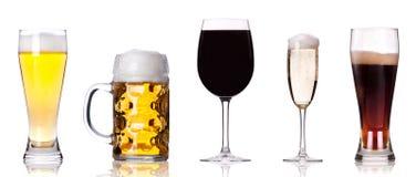 Inzameling van verschillende beelden van alcohol   Stock Afbeeldingen