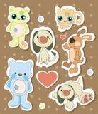 Inzameling van verschillende dierlijke stickers Royalty-vrije Stock Foto