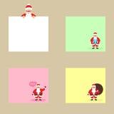 Inzameling van verschillende gekleurde bladen van notadocumenten met Santa Claus, klaar voor uw bericht Royalty-vrije Stock Afbeeldingen