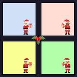 Inzameling van verschillende gekleurde bladen van notadocumenten met verschillende Santa Claus, klaar voor uw bericht Royalty-vrije Stock Afbeelding