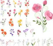 Inzameling van verschillende gestileerde bloemen royalty-vrije illustratie