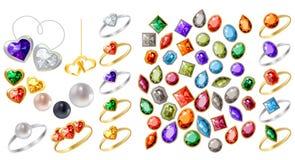 Inzameling van verschillende juwelen Stock Afbeelding