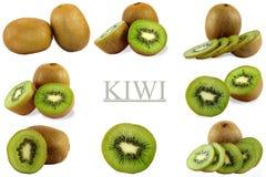 Inzameling van verse die kiwi op witte achtergrond wordt geïsoleerd, Royalty-vrije Stock Afbeeldingen