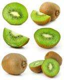 Inzameling van verse geïsoleerde4 kiwivruchten stock afbeeldingen