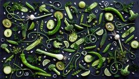 Inzameling van verse groene fruit en groenten Stock Foto's