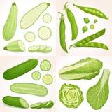 Inzameling van verse groene groenten Stock Afbeelding