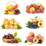 Inzameling van verse vruchten stock foto's