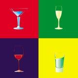 Inzameling van vier glazen voor verschillende dranken Stock Afbeelding