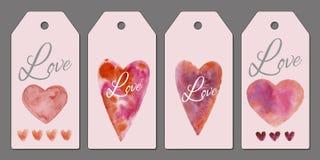 Inzameling van vier markeringen voor de Dag van Valentine De illustratie van de waterverf Giftmarkeringen met harten royalty-vrije stock afbeelding