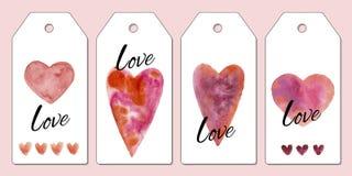 Inzameling van vier markeringen voor de Dag van Valentine De illustratie van de waterverf Giftmarkeringen met harten royalty-vrije stock fotografie