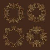 Inzameling van vier monogrammen Royalty-vrije Stock Fotografie