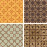 Inzameling van vier naadloze patronen Stock Foto