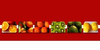 Inzameling van vierkant vormenhoogtepunt van verse vruchten Royalty-vrije Stock Afbeeldingen