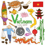 Inzameling van Vietnamese pictogrammen Stock Foto