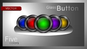 Inzameling van vijf multi-colored glaspictogrammen stock illustratie