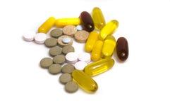 Inzameling van vitaminen en pillen Stock Afbeelding
