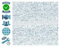 Inzameling van vlakke glyphpictogrammen van 2000 Stock Afbeelding