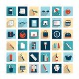 Inzameling van vlakke het ontwerppictogrammen van het het werkbureau. Royalty-vrije Stock Afbeelding