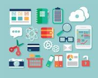 Inzameling van vlakke ontwerppictogrammen, computer en mobiele apparaten, cl Stock Afbeelding
