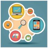 Inzameling van vlakke ontwerppictogrammen, computer en mobiele apparaten, cl Stock Fotografie