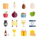Inzameling van vlakke pictogrammen van Joodse vakantiepascha Stock Foto's