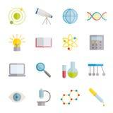 Inzameling van vlakke wetenschapspictogrammen Stock Foto's