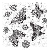Inzameling van vlinder en bloemtatoegering in oude schoolstijl Stock Afbeelding