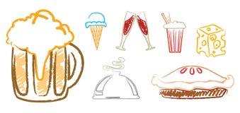 Inzameling van voedselpictogrammen Royalty-vrije Stock Foto's