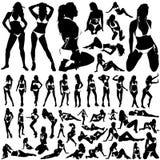 Inzameling van vrouwen in bikinivector Stock Foto