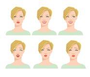 Inzameling van vrouwen` s emoties Stock Afbeeldingen