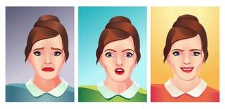 Inzameling van vrouwen vectorinzameling van emoties stock illustratie