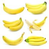 Inzameling van vruchten banaan die op wit wordt geïsoleerd royalty-vrije stock afbeelding