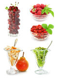Inzameling van vruchten die op wit wordt geïsoleerdr royalty-vrije stock afbeelding