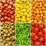 Inzameling van vruchten en groenten stock afbeeldingen