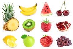 Inzameling van Vruchten op wit royalty-vrije stock foto's