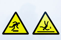 Inzameling van waarschuwingsborden stock foto's