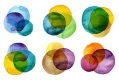 Inzameling van waterverf de hand geschilderde cirkels Stock Foto's