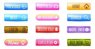 Inzameling van Webknopen, Vectormalplaatjes, banners en etiketten, media Lintenpictogrammen voor website of app, navigatie royalty-vrije illustratie